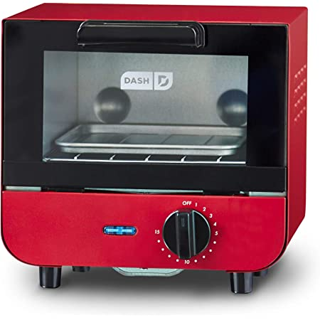 Dash Mini Toaster Oven Cooker for Bread, Bagels, Cookies, Pizza, Paninis & More with Baking Tray, Rack, Auto Shut Off Feature - Red