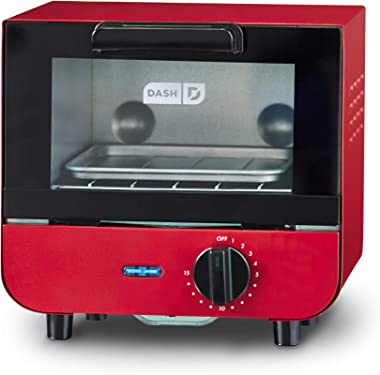 Dash DMTO100GBRD04 Mini Toaster Oven Cooker for Bread, Bagels, Cookies, Pizza, Paninis & More with Baking Tray, Rack, Auto Sh