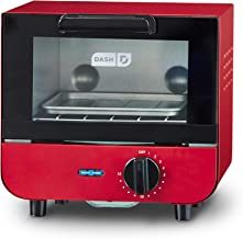 Dash DMTO100GBRD04 Mini Toaster Oven Cooker for for Bread, Bagels, Cookies, Pizza, Paninis & More with Baking Tray, Rack, Auto Shut Off Feature, Red