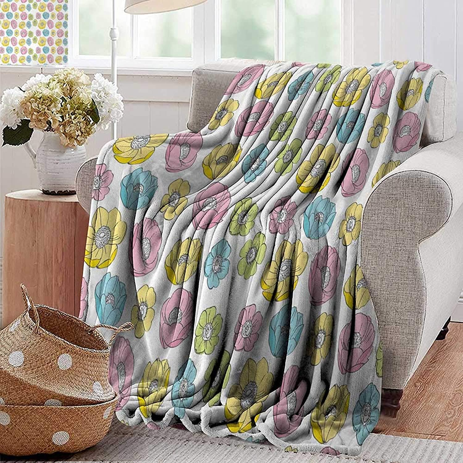 XavieraDoherty Weighted Blanket,Anemone Flower,colorful Seasonal Field Pattern Graphic Girls Kids Theme,Pale bluee Pale Pink Yellow,Indoor Outdoor, Comfortable for All Seasons 35 x60
