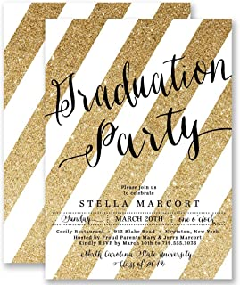 Graduation Party Invitations Gold Striped Glitter Look Announcement Cards Boutique Invites with Envelopes- Stella style