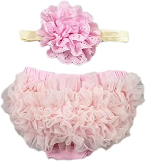 CHICTRY Newborn Baby Girl Ruffled Bloomer /& Lace Flower Infant Headband Photography Prop Set