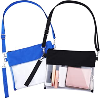 Jeicy 2 Pack Clear Purse Bag,NFL,NCAA & PGA Stadium Approved Clear Shoulder Tote Bag with Adjustable Shoulder Strap and Wrist Strap for Work School Sports Games