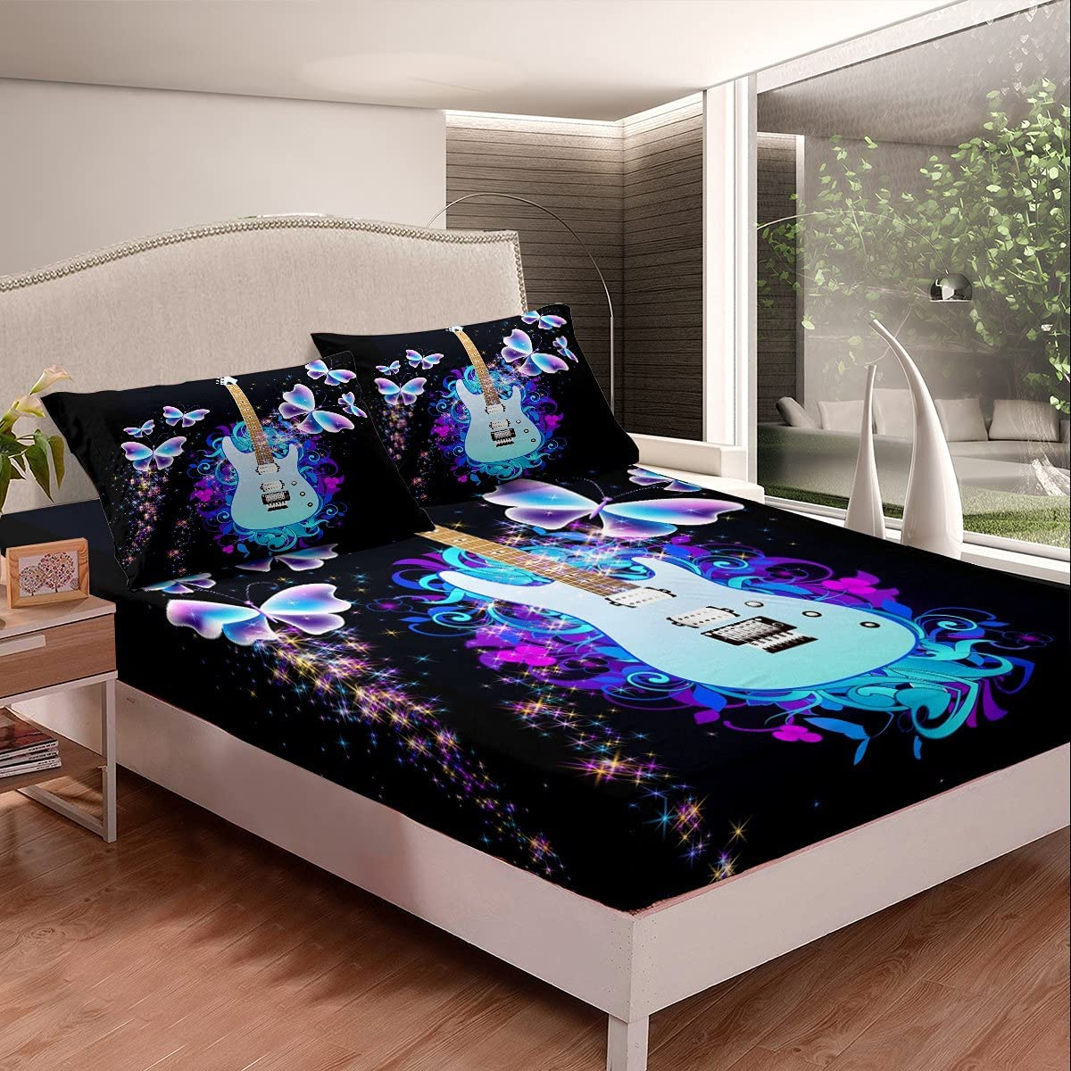 free shipping Castle Fairy Guitar Fitted Sheet Musical Financial sales sale with Instrument Butterf