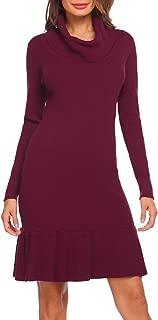 Women's Vintage Cowl Neck Long Sleeve Slim Fit Ruffle Casual Mini Sweater Dress