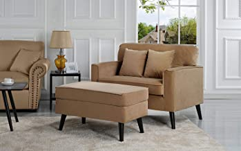 Casa Andrea Milano Modern Velvet Upholstered Lounge Accent Chair - Coffee Brown Single Seater with Storage Ottoman-Coffee Table, Lounger Chaise Chair for Living Room (Brown)