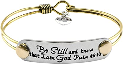UNQJRY Religious Bracelets for Girls Inspirational Gifts for Christians Brass Bangle Jewelry with Bible Verse Mantra