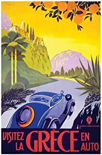 Visit Greece by Car Vintage Travel Cool Wall Decor Art Print Poster 24x36