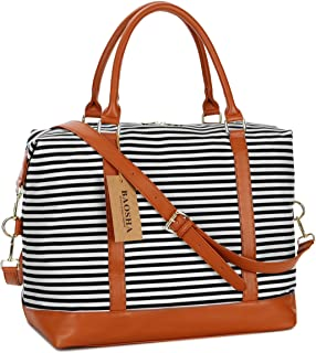 Baosha HB-28 Damen Canvas Carry-on Reisetasche Frauen Weekender Handgepäck Segeltuch Travel Duffel Wochenende über Nacht Tragetasche Schwarze Streifen