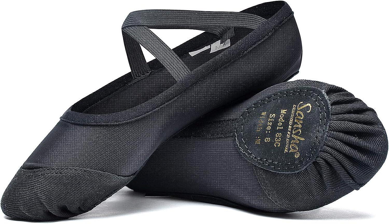 SANSHA Women's Split Leather Sole Soft Ballet Shoes 83x Pro-fit Flat