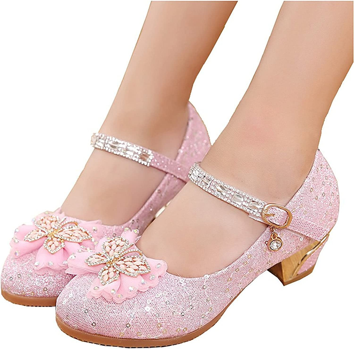 Pilusooou Elegant Girls Mary Janes Communion Party Flower Gilrs shoes