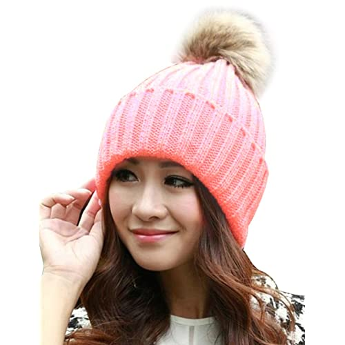 ISASSY Women s Faux Fur Winter Warm Knit Knitted Bobble Pom Beanie Bobble  Baggy Crochet Ski Cap eb0f5a1c5ab