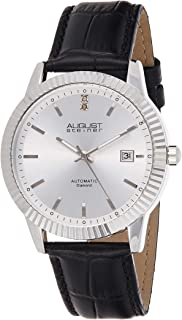 August Steiner Men's Automatic Diamond Dress Watch - Coin Edge Case with ToneDial on Genuine Leather Alligator Strap