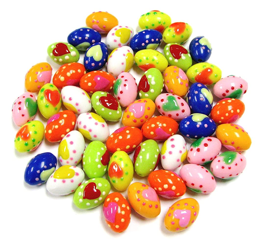 Linpeng Resin Heart Oval Beads Jewelry Making Colors-50 pcs, Assorted