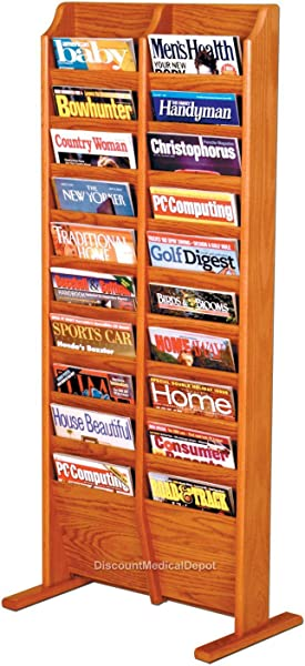 DMD Free Standing Magazine Rack 20 Pocket Wood Medium Oak Finish