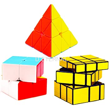D ETERNAL Cube Combo Set of 2x2 Cube Pyraminx Triangle and Mirror Puzzle Cubes Combo (2x2+Triangle+Mirror)