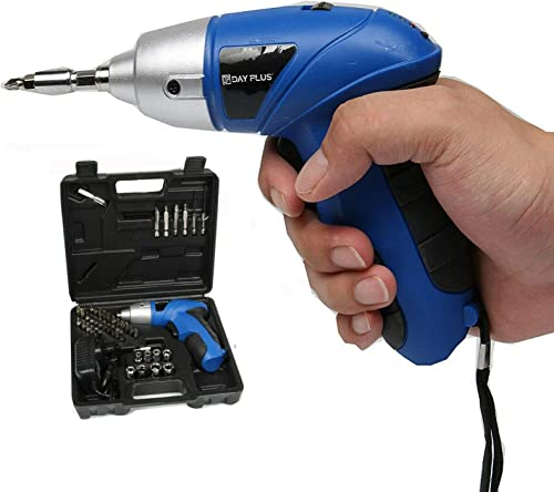 lowest Cordless new arrival Screwdriver 3 N.m, online 3.6V 1.3Ah 180RPM Electric Screwdriver Rechargeable Screw Gun & Bit Set, 44pcs Accessories, Lightweight DIY Tool for Home, with Easy Carry Storage Case outlet sale