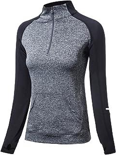 EZ-Joyce Women's Long Sleeve Yoga Sweatshirt Half Zip Workout Jacket with Thumb Holes