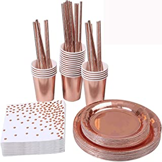 Beauenty 146 Pieces Rose Gold Party Supplies Party Tableware Foil Paper Plates Napkins Cups Straws for Weddings, Anniversa...