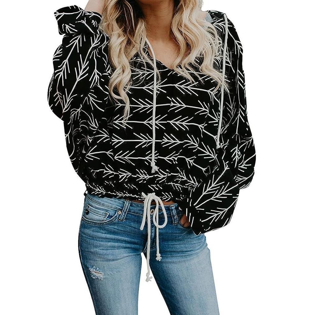 Sweatshirts Ankola Womens V Neck Arrow Pattern Pullover Hoodies Drawstring Long Sleeve Casual Sweatshirts