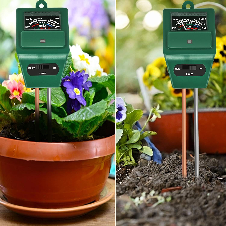 Bearbro Medidor de Humedad del Suelo, Monitor de Agua del Suelo, Medidor Digital 3 en 1 de la Humedad del Suelo y la acidez del PH, para Planta/ Jardín/Granjas(No Necesita batería): Amazon.es: Jardín