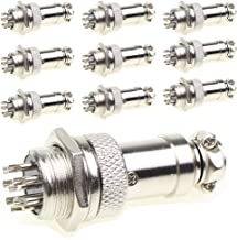 Aviation Plug Connector 10 Pairs Male Female Panel Metal Wire Connector 16mm Socket (8 Pins 10-Pack)
