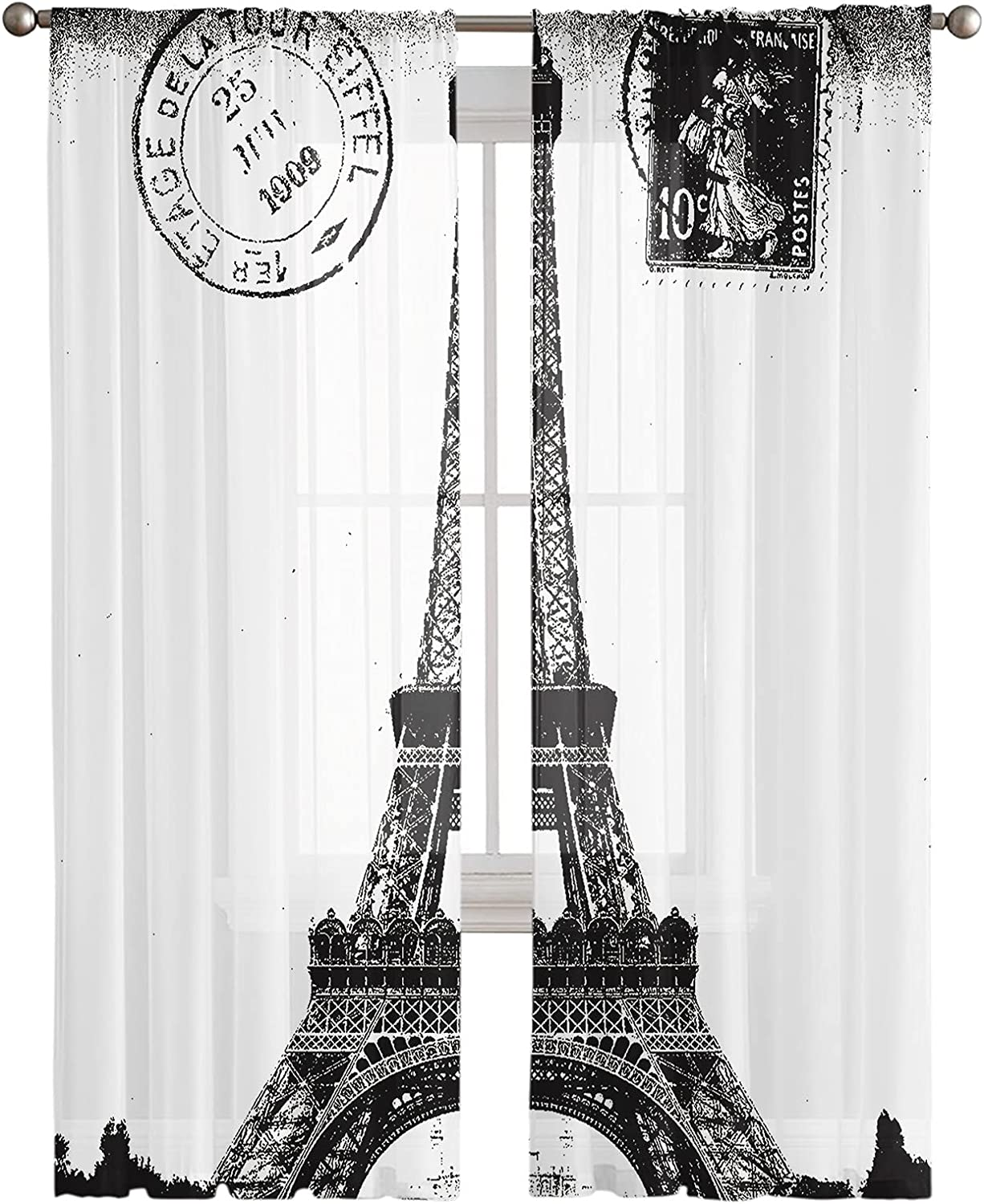 Kitchen 2021 model Semi Sheer Window Curtain Panels 108 Inches Long Branded goods Paris E