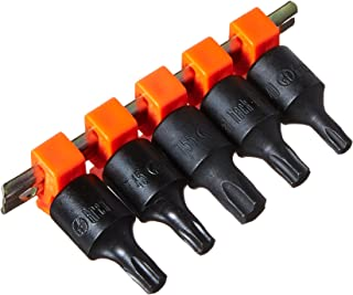 Great Neck 5 pc Star Torx Bit Set w Rail, 3/8 Drive T40,T45,T47,T50,T55, TQS5C,
