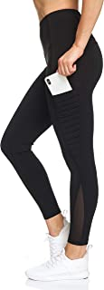 Women's Active Leggings - High Waist Workout Pants with Pockets and Motto Detail