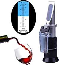HunterBee Portable ATC Handheld Alcohol Scale Refractometer with 0 to 80% W/W Resolution 1% / Rice Wine Liquor Volume Percent Tester Meter Measure Instrument, Alcohol Tester