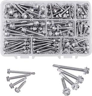3CLifewaren M4.2//4.8 Self Tapping Stainless Steel Metal Screws Phillips Pan Head Self Drilling Screws 410 Stainless Steel, 100 pcs//Pack