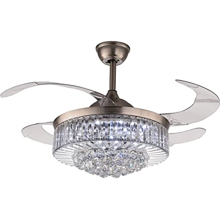 -Polished Chrome 48 Inches Moooni Reverse Dimmable Fandelier Retractable Crystal Ceiling Fans with Light and Remote Invisible LED Ceiling Fan Light Kit