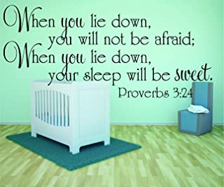 Design with Vinyl RAD 982 2 When You Lie Down, You Will Not Be Afraid; When You Lie Down, Your Sleep Will Be Sweet. Proverbs 3;24 Bible Quote KJV Baby Boy Girl Wall Decal, Black, 16 x 24