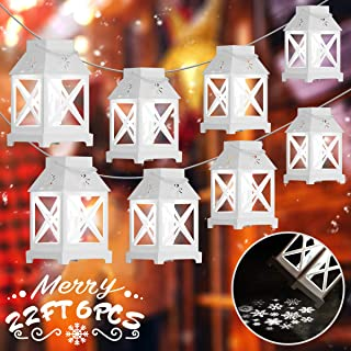 YUNLIGHTS Christmas String Lights, 6PCS Decorative Snowflakes String Lights, 22.6FT Plug-in Christmas Projector Lights, Christmas projection lights for Indoor Outdoor Garden Christmas Decoration White