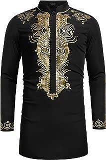Men's African Dashiki Luxury Metallic Floral Mandarin Mid Long Shirt