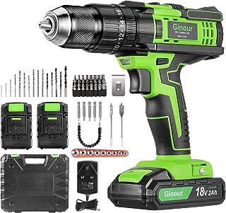 Cordless Drill Driver, ginour 18V Combi Drill, Hammer Drill,20+3 Torque,66 Accessories, 2Pcs 2000mAh Lithium Batteries, 45...