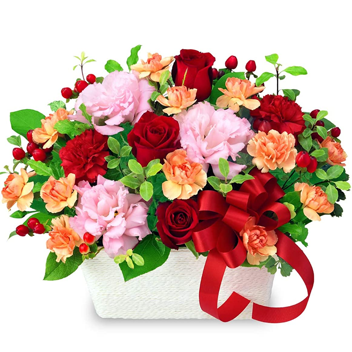 漂流透過性精算【結婚祝】赤バラとリボンのアレンジメント yd00-512085 花キューピット 花 ギフト お祝い 記念日 プレゼント 生花 祝花 妻 夫 ブライダル 誕生日 感謝 お礼