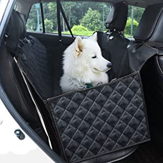 GHB Dog Car Seat Cover Back Seat Pet Hammock 600D Waterproof Tarpaulin with Seat Belt and 2 Pocket for Car SUVs Trucks