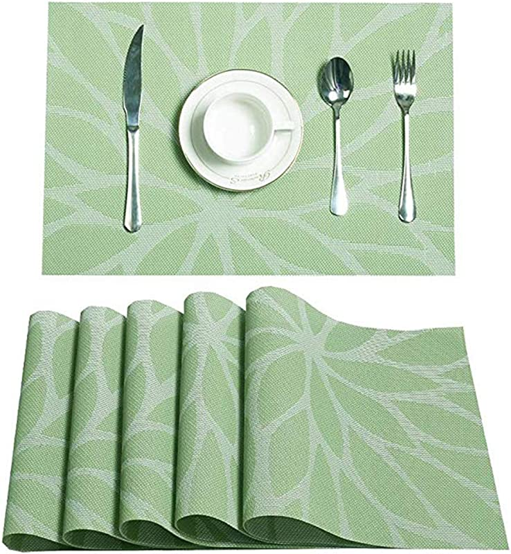Bx Wink 4pcs Placemats 17 711 8in Heat Resistant Placemats Stain Resistant Anti Skid Washable PVC Table Mats Woven Vinyl Placemats Green