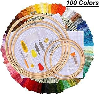 PEIPONG Stickerei Set, Stickerei Starter kit, Kreuzstich Tool Kit Einschließlich 100 Farbfäden, 12 von 18-Zoll 14 Count Classic Reserve Aida, 5 Bambus Stickrahmenund Nadeln Set