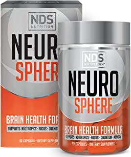 NDS Nutrition Neuro Sphere - Brain Health Formula - Nootropic, Increase Focus and Energy, Enhance Concentration, Improve Memory, Antioxidant and Immunity Support - 90 Capsules
