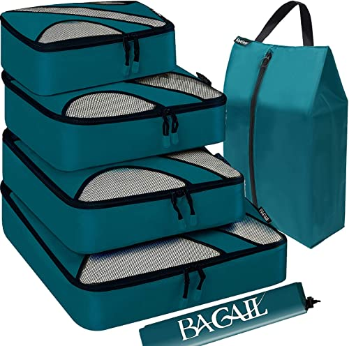 Bagail 6 Set Packing Cubes,Travel Luggage Packing Organizers with Laundry Bag Or Toiletry Bag (Teal)