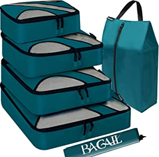 BAGAIL 4 Set Packing Cubes,Travel Luggage Packing Organizers with Laundry Bag Teal