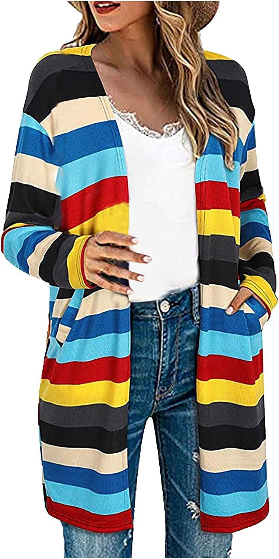 Women's Fashion Stripe Cardigan Coat Casual Printing Long Sleeve Cardigan Tops Loose Fit Pockets Outwear
