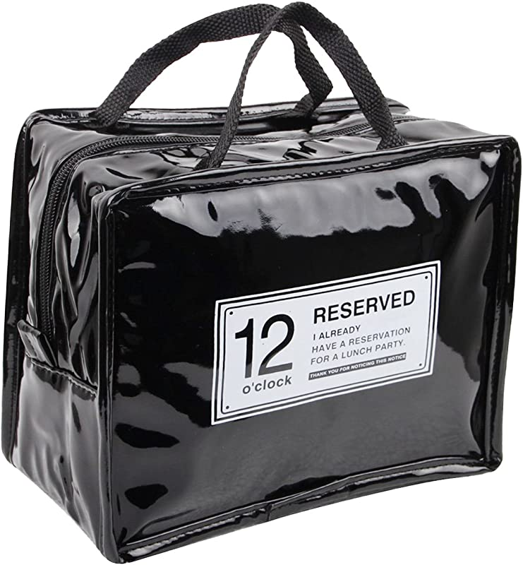 IToolai Zipper Mini Patent PU Leather Waterproof Reusable Lunch Bags Insulated Tote Bag Black