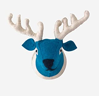 REX + REG Handmade Reindeer Wall Décor. 3D, Wool Exterior, Stuffed Deer Head Animal Wall Mount. Blue Face, White Antlers. Great Decoration for House, Bedroom or Nursery for Kids. Approx. 10