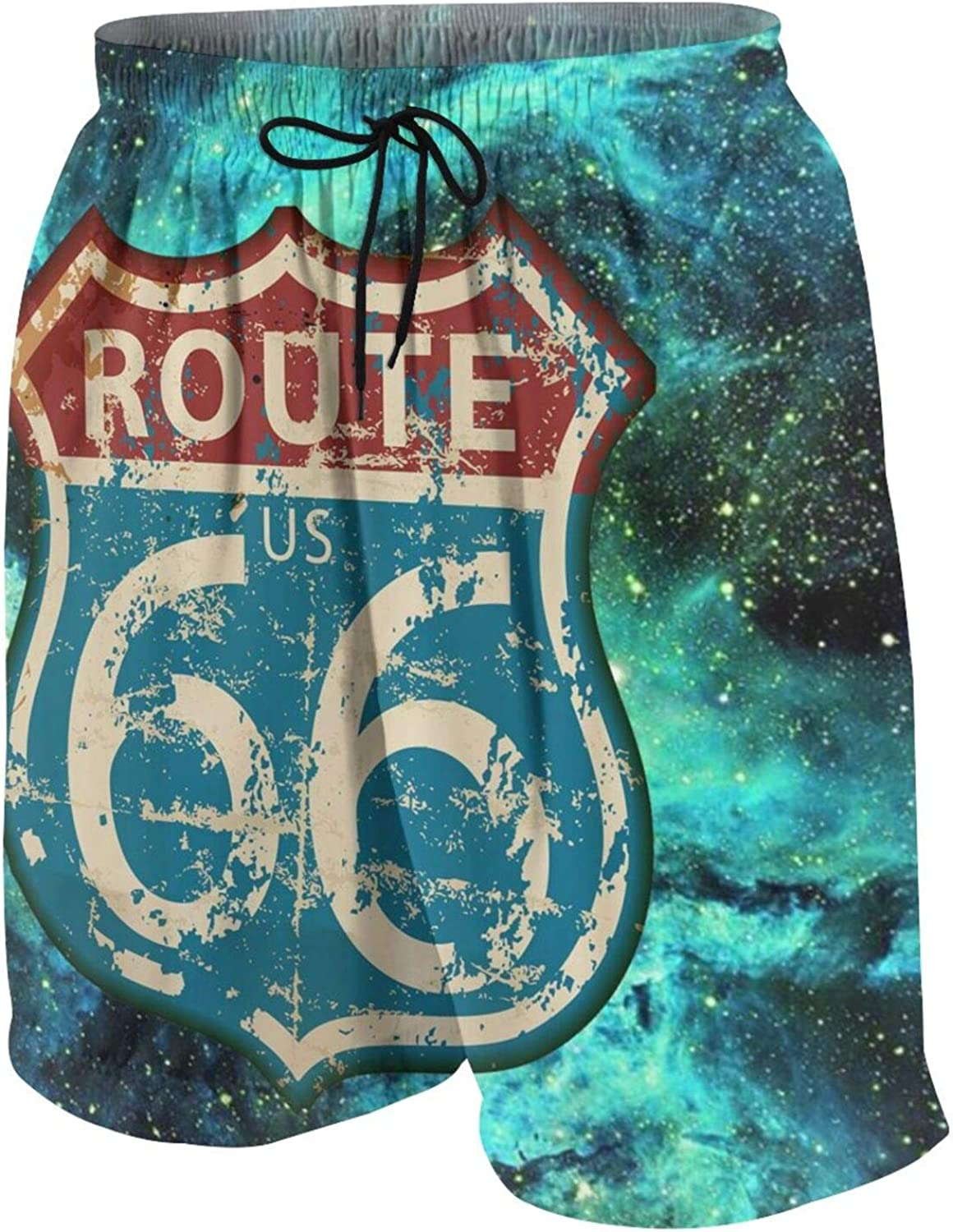 America Highway Travel Lifestyle Route 66 Swim Trunks Quick Dry Beach Board Shorts Bathing Suit with Pockets for Teen Boys