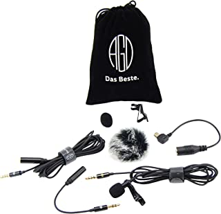 AGD Lavalier Lapel Microphone Kit - Clip-on Omnidirectional Condenser Lav Mic Compatible with iPhone, iPad, GoPro, DSLR, Camcorder, Zoom/Tascam Recorder, PC, MacBook, Android, PS4