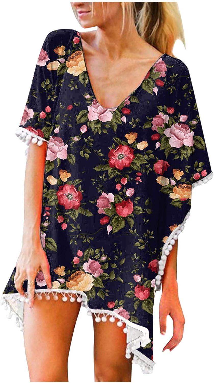 POTO Swimsuit Cover Up for Women Sexy, Women's Chiffon Swimsuit Tassel Floral Print Beachwear Bathing Suit Tunic Dress