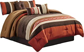 HGS 7-Pc Rania Geometric Lines Embroidery Triangle Diamond Embossed Pleated Comforter Set Rust Orange Brown Beige Mocha Queen